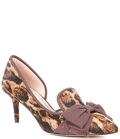 AD & Daughters Cavielle Leopard Print Haircalf Bow Detail d'Orsay Pumps
