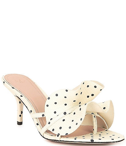 AD & Daughters Coraline Dot Print Leather Ruffle Mules
