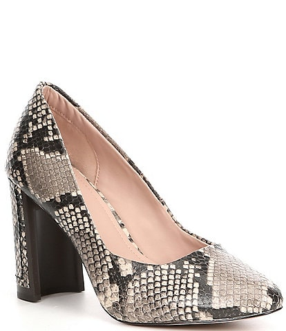 AD & Daughters Elodea Snake Print Leather Block Heel Pumps
