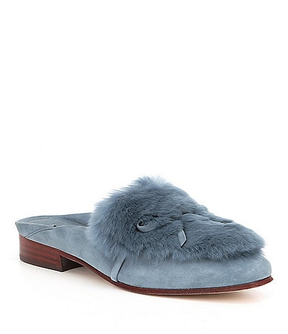 AD & Daughters Grigon Suede Rabbit Fur Dress Mules