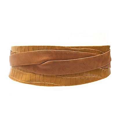 ADA Classic Crocodile-Embossed & Leather Classic Wrap Belt