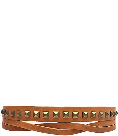 ADA Skinny Pyramid Studded Wrap Belt