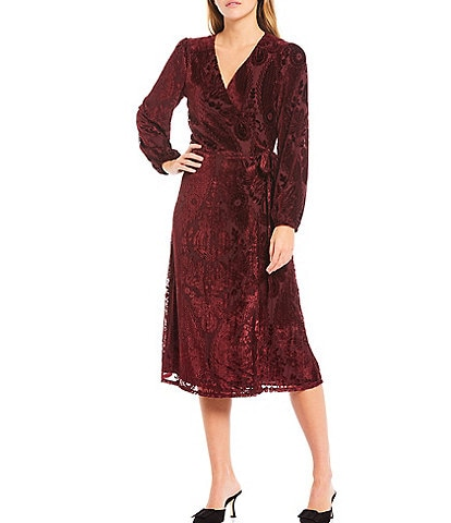 Adelyn Rae Burnout Velvet Midi Wrap Dress