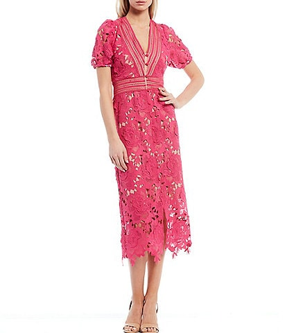 Adelyn Rae Button Front V-Neck Illusion Lace Midi Dress