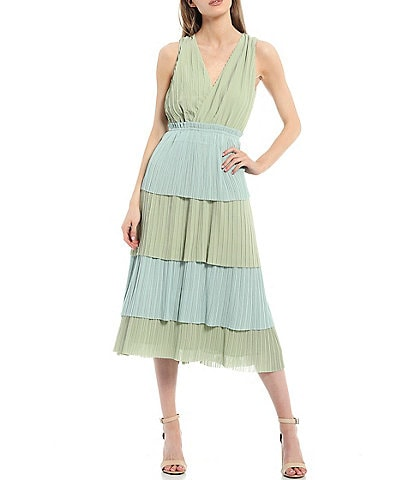 Adelyn Rae Color Block Tiered Midi Dress