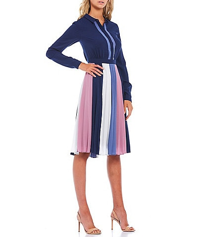 Adelyn Rae Colorblock Crepe Pleated Long Sleeve Midi Dress