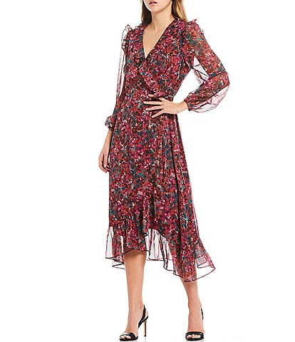 Adelyn Rae Floral Print Chiffon Ruffle Trim Long Sleeve Midi Wrap Dress