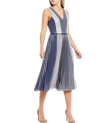 Adelyn Rae Foiled Lurex V-Neck Sleeveless Pleated Colorblock Chiffon Midi Dress