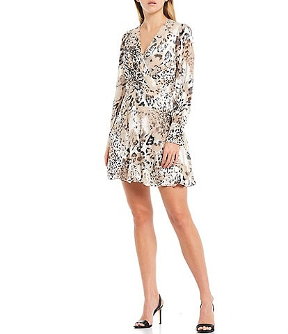 Adelyn Rae Long Sleeve Animal Print Satin A-Line Dress