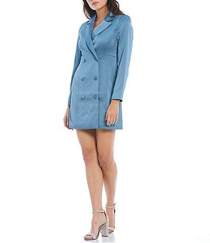 Adelyn Rae Long Sleeve Deep V-Neck Notch Lapel Woven Tuxedo Dress