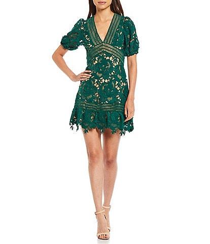 Adelyn Rae Plunge V-Neck Lace Short Sleeve Sheath Slight Flare Mini Dress