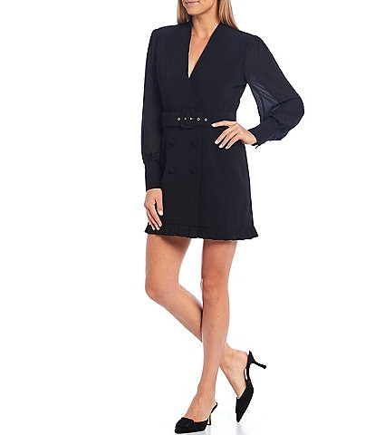 Adelyn Rae Surplice Plunge V-Neck Chiffon Balloon Sleeve Crepe Blazer Belted Ruffle Hem Dress