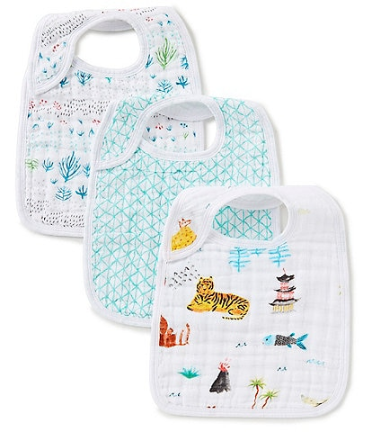 Aden + Anais 3-Pack Muslin Around the World Snap Bibs