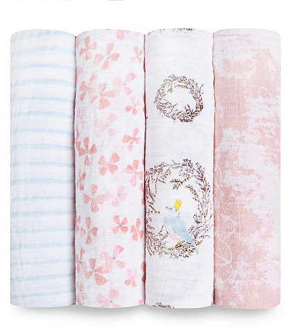 Aden Anais Baby Girls 4-Pack Printed Birdsong Swaddle Blankets
