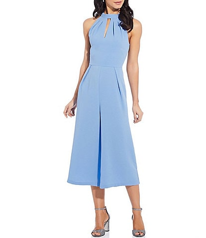 Adrianna Papell Cameron Pleated Keyhole Halter Neck Sleeveless Cropped Jumpsuit