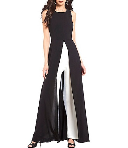 Adrianna Papell Color Block Crew Neck Sleeveless Walk Through Jumpsuit Gown