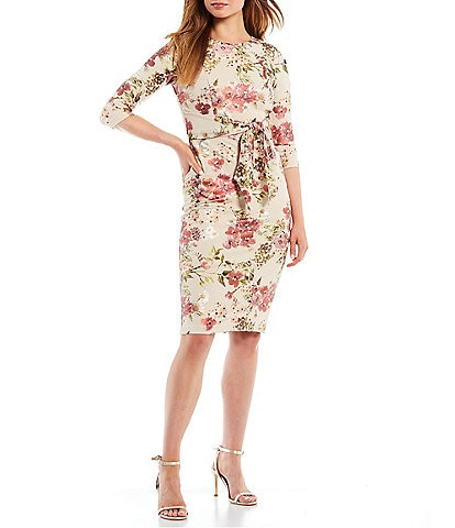 Adrianna Papell 3/4 Sleeve Crew Neck Floral Belted Sheath Dress