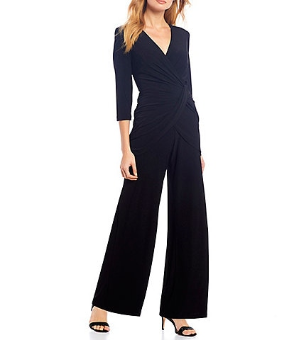 Adrianna Papell 3/4 Sleeve Ruched Jersey Wide Leg Jumpsuit