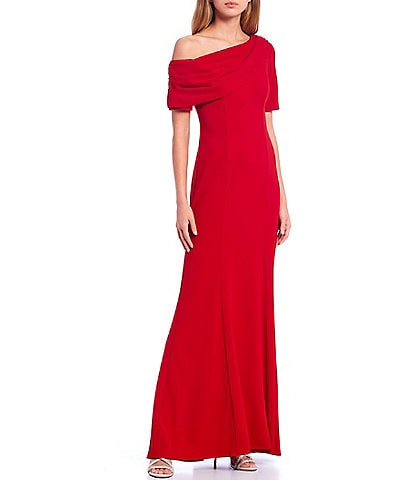 Adrianna Papell Asymmetric Neck Short Sleeve Stretch Crepe Mermaid Gown