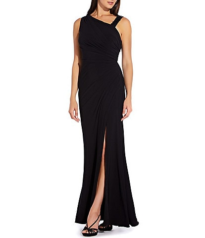 Adrianna Papell Asymmetrical Beaded Strap Jersey Gown