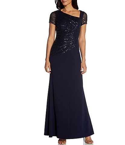Adrianna Papell Asymmetrical Neck Cap Sleeve Sequin Crepe A-Line Gown