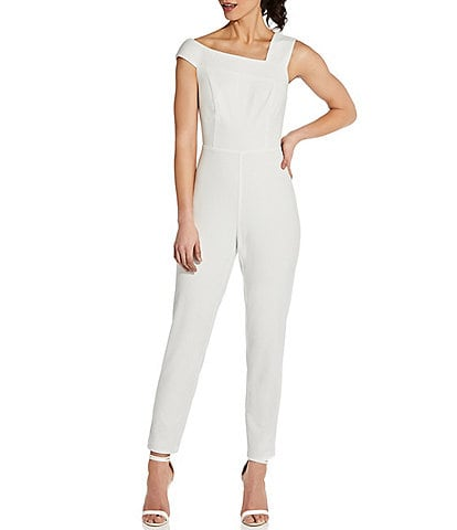 Adrianna Papell Asymmetrical Neck Sleeveless Knit Crepe Jumpsuit