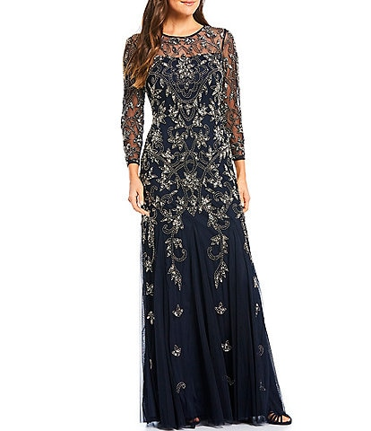 Adrianna Papell Beaded Illusion 3/4 Sleeve Gown