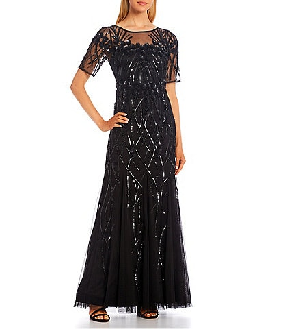 Adrianna Papell Beaded Round Neck Short Sleeve Sheath Gown