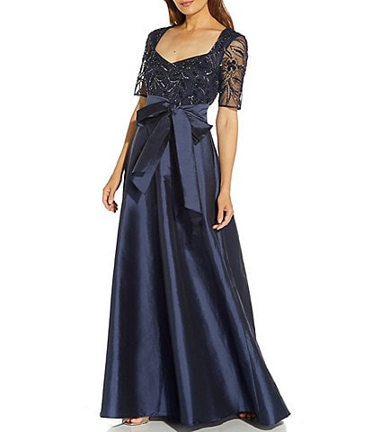 Adrianna Papell Beaded Bodice Sweetheart Neck Elbow Short Sleeve Ball Gown
