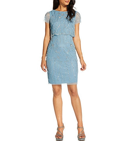 Adrianna Papell Beaded Chiffon Short Sleeve Popover Sheath Dress
