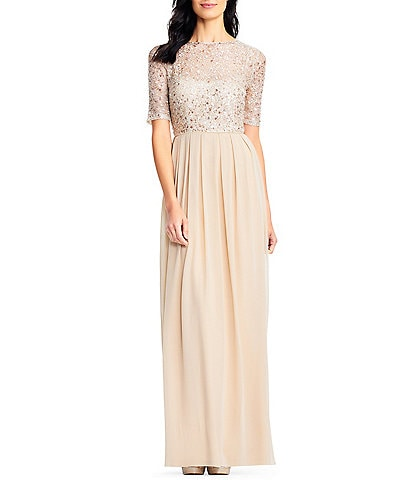 Adrianna Papell Beaded Bodice Elbow Sleeve Gown