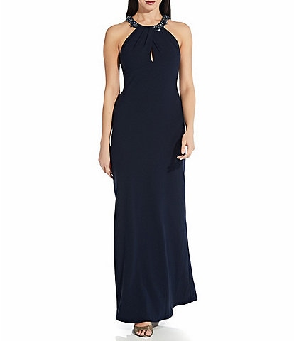 Adrianna Papell Beaded Halter Neck Sleeveless Crepe Mermaid Gown