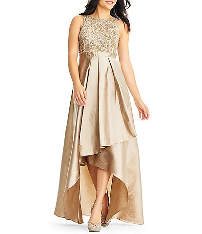 Adrianna Papell Beaded Hi-Low A-Line Gown