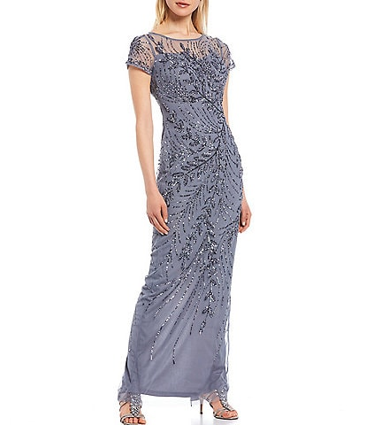Adrianna Papell Beaded Leaf Short Sleeve Gown