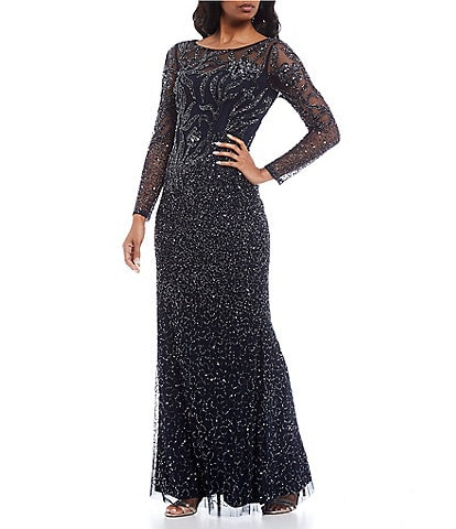 Adrianna Papell Long Illusion Sleeve Beaded Mesh Gown