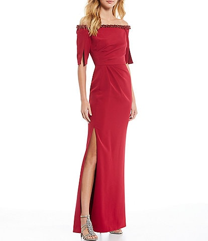 Adrianna Papell Beaded Off-the-Shoulder Pleated Waist Crepe Gown