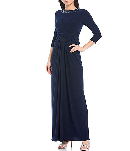 Adrianna Papell Beaded Round Neck 3/4 Sleeve Twist Front Jersey Gown