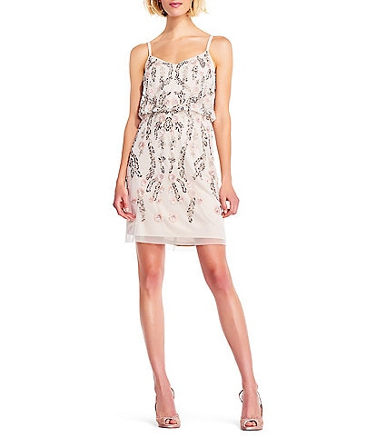 Adrianna Papell Beaded V-Neck Spaghetti Strap Blouson Dress