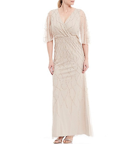 Adrianna Papell Beaded V-Neck Flutter Sleeve Gown