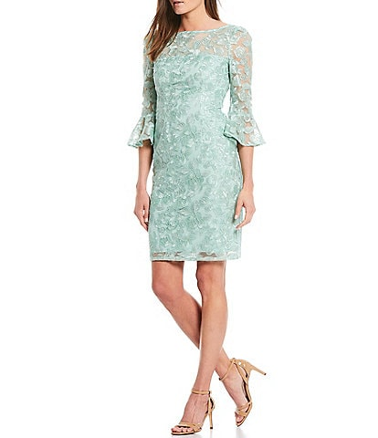 Adrianna Papell Bell Sleeve Embroidered Stretch Lace Sheath Dress