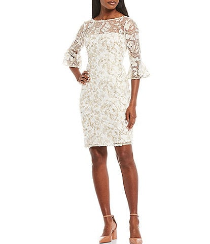 Adrianna Papell Boat Neck 3/4 Bell Sleeve Floral Metallic Embroidered Mesh Sheath Dress