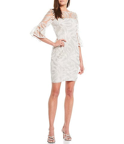 Adrianna Papell Bell Sleeve Sequin Embroidered Sheath Dress