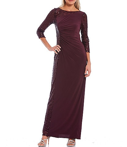 Adrianna Papell Boat Neck 3/4 Sequin Sleeve Matte Jersey Gown