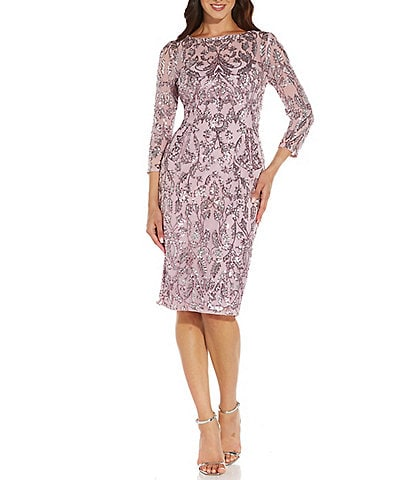 Adrianna Papell Boat Neck 3/4 Sleeve Sequin Mesh Lined Sheath Dress