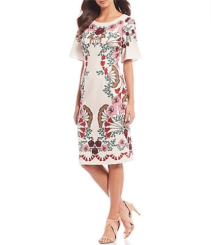 Adrianna Papell Boat Neck Floral Print Sheath Dress