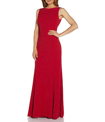 Adrianna Papell Boat Neck Sleeveless Cowl Back Stretch Metallic Jersey Knit Gown