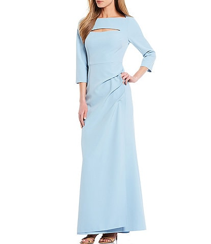 Adrianna Papell Boat Neck Stretch Twill Pin Tuck Gown