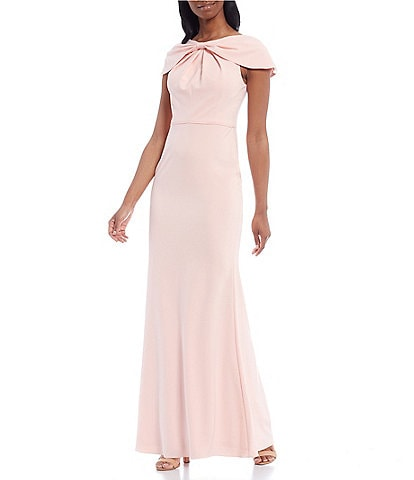 Adrianna Papell Bow Detail Stretch Crepe Cap Sleeve Mermaid Gown
