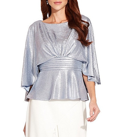 Adrianna Papell Cape Sleeve Pleated Waist Foiled Jersey Top