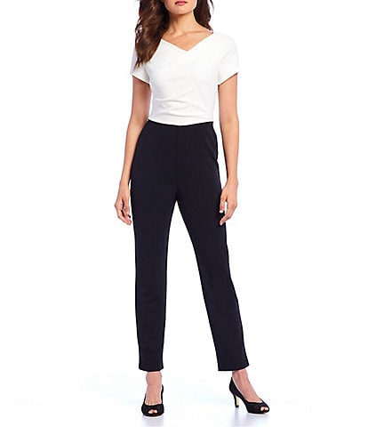 Adrianna Papell Cowl Neck Colorblock Short Sleeve Crepe Jumpsuit